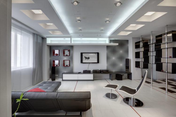Дизайн трехкомнатной квартиры в черно-белой гамме