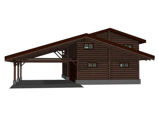 Проект двухэтажного гаража с навесом