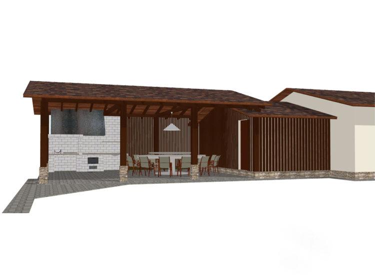 Проект гаража с беседкой
