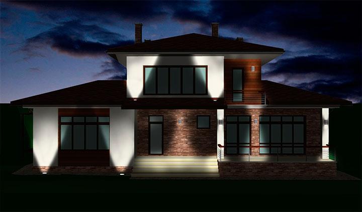 Дизайн отделки фасадов дома в Пирогово
