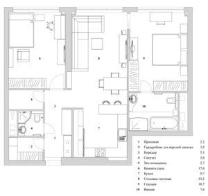 Планировка большой квартиры на ул. Удальцова