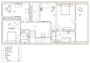 Планировка 2го этажа таунхауса в Рублево