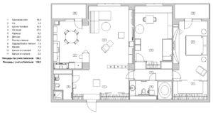 Планировка трехкомнатной квартиры в черно-белой гамме