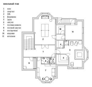 Планировка цокольного этажа дома в Павлово