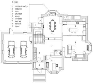 Планировка 1-го этажа дома в Павлово